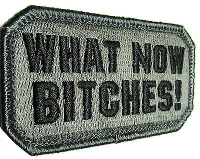 What Now B*tches! Usa Army Combat Morale Tactical Military Acu Dark Hook Patch
