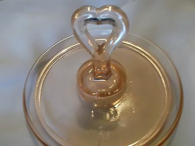 "PINK DEPRESSION GLASS HEART CENTER HANDLE CANDY DISH  TIDBIT TRAY -6 1/4"" WIDE"