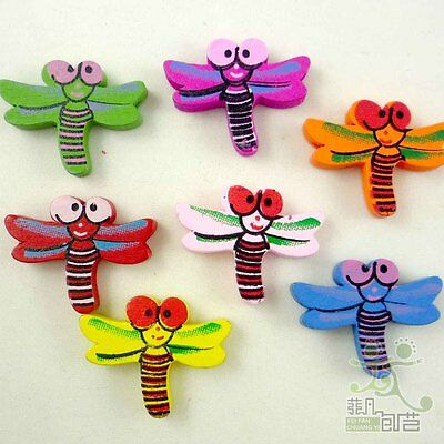 10/100 pcs mixed colors wood dragonfly flatback/Button lot 25x20MM craft DIY