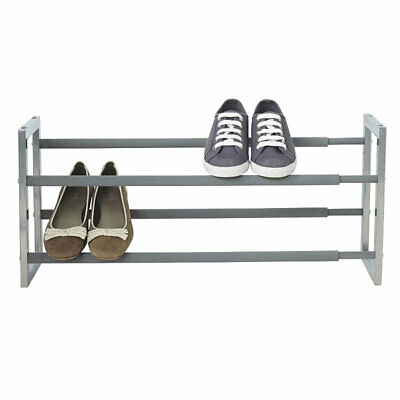 Lakeland Extending Steel Shoe Rack Holds up to 10 Pairs - Silver & 2 TIER EXTENDABLE Shoe Rack Steel Storage Organizer Stand Metal ...