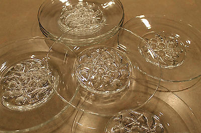 VINTAGE GLASS SALAD PLATES DEPRESSION GRAPES/CHERRY PATTERN SET OF 8 BEAUTIFUL!!