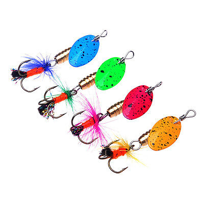 Lot 4pcs Spinner Baits Metal Spoon Bass Fishing Lures Feather Hooks 4 Colors