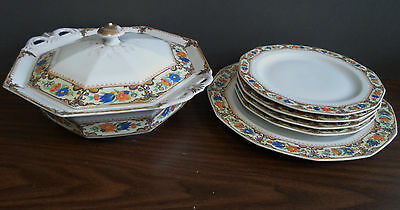 7 piece Princess China Belwood  Bavaria Lowell pattern - Covered bowl - 5 plates