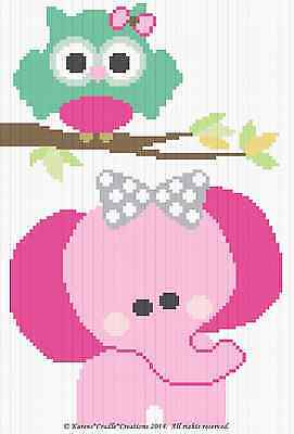 Crochet Patterns - OWL and ELEPHANT Graph/Chart BABY Afghan Pattern