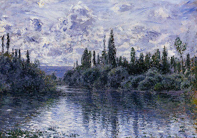 Oil painting Claude Monet - Arm of the Seine near Vetheuil nice landscape canvas