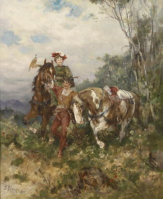 Stunning Art Oil painting male portraits young boys Dude with horses in view