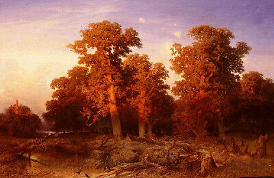 Stunning Oil painting Sunset In A Hungarian Forest landscape canvas