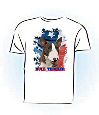 Bull Terrier   brindle & white  PERSONALIZED   Stars & Stripes T shirt