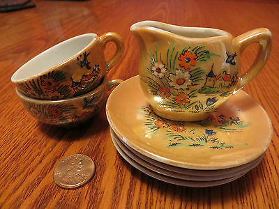 Child's Tea Set Cups Plates Creamer Vintage Lusterware Japan Blue Bird Floral