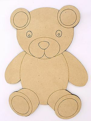One Wood Wooden Teddy Bear Shape MDF 10cm High Kids Craft DIY Paint Mobile