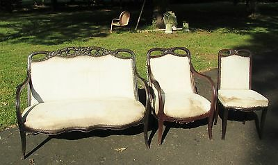 Fine French Art Nouveau Parlor Set 3 piece Settee Arm , Side Chair  AS - FOUND