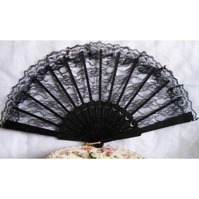 Black Lace Fan Spanish Victorian Gothic Vampire Fancy Dress Up Party