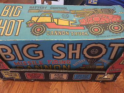Vintage Boxed Marx Big Shot Missile Firing Cannon Battery Powered Truck!