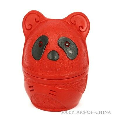 "(16) 3.2"" Pretty Chinese Panda Shape Red Cinnabar Color Lacquer Box Container"