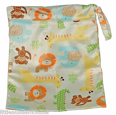 Minky Animals Large Zip Wet Bag baby for cloth nappies, wet swimwear, towels