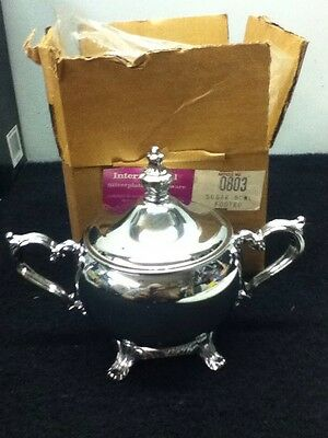 Vintage International Silver Plated Holloware #0803 Footed Sugar Bowl New In Box