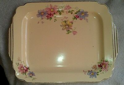 Homer Laughlin ivory/floral/gold trim tray