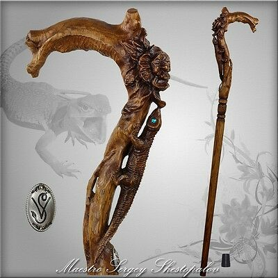 DESIGNERS LIZARD & FLOWER HANDCARVED CRAFTED SOLID WOOD WALKING STICK CANE STAFF