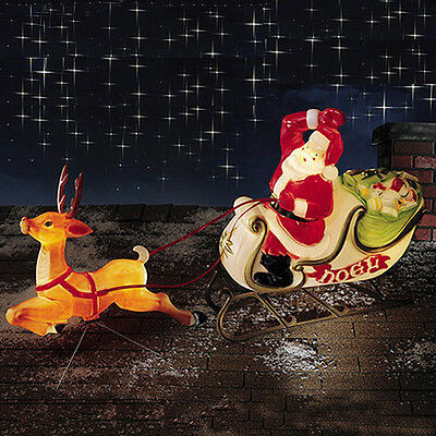 Santa Sleigh and Reindeer Decoration Christmas Blow Mold New