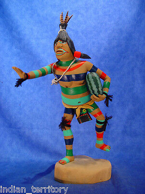 """Hopi Indian 4-Color Clown Kachina by Grover 15.5"""" ht  handcarved cottonwood root"""