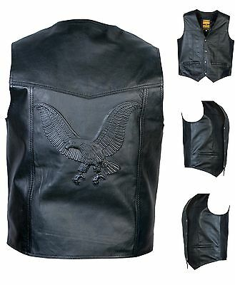 REAL LEATHER WAISTCOAT  Biker Vest Motorcycle MotorBike Black / Embossed Eagle