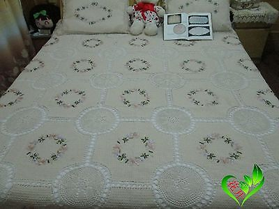 "Vintage Hand Crochet Bedspread Sheet~94.4""*106"" have Pillow Covers item no 1088"