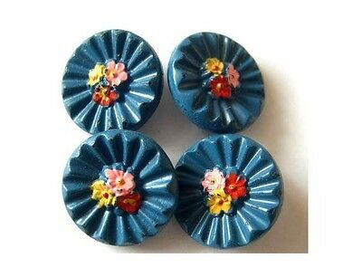 6 Buttons, antique vintage glass hand painted flowers, light blue, 18mm
