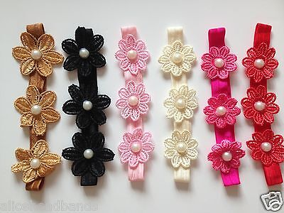 Triple Flower Headband Baby Girl Headbands Newborn Toddler Girls + Lot