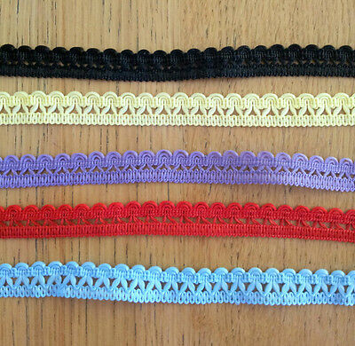 5 Assorted Vintage Laces BLUE RED BLACK YELLOW PURPLE embellishment Scrapcbook