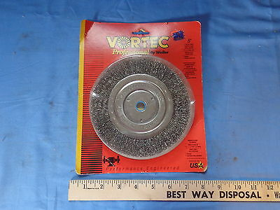 "NOS 6"" CRIMPED WIRE WHEEL BRUSH medium face course 5/8 -1/2"" holeVORTEC # 30060"