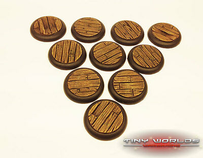 30mm Round Lipped Wood Plank / Ship Decking Resin Bases Warmachine Malifaux ds