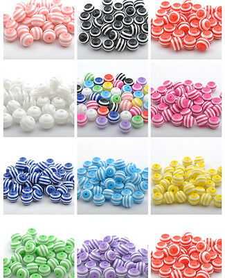 Wholesale Acrylic ZEBRA-STRIPE Round Charms Loose Spacer BEADS 6MM 8MM 10MM 12MM