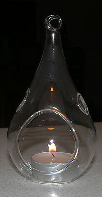 60 Glass Tear Drop Pear Shape Hanging Tealight Candle Holder Wedding 12cm BULK