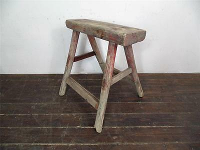 VINTAGE RUSTIC ANTIQUE WOODEN STOOL MILKING EXTRA LARGE No L123