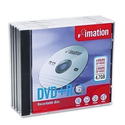 Imation 17193: Dvr+R Discs 4.7Gb 16X Slim Jewel Case 5/pack