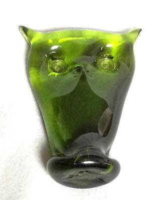 Vintage Rainbow Glass Company ? Hand Blown Owl Green Paperweight