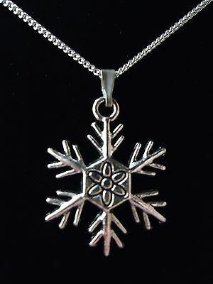 Vintage Snowflake Christmas Necklace. Sterling Silver Option & Gift Box Or Pouch
