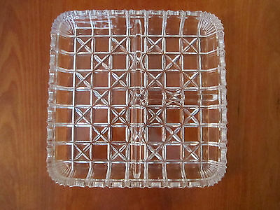 Vintage Square Clear Cut-Glass Divided Serving Plate