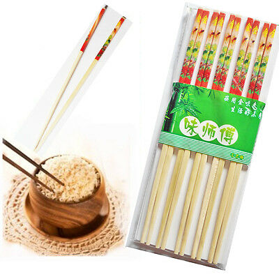 "10 x Bamboo Re-usable Chopsticks Wooden Printed 9.5"" Stick Chinese Oriental Food"
