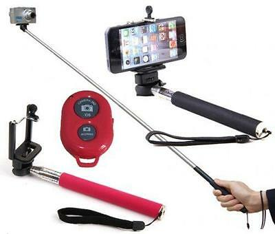 Red SELFIE Monopod Extendable Handheld Holder Bluetooth Remote Control Shutter