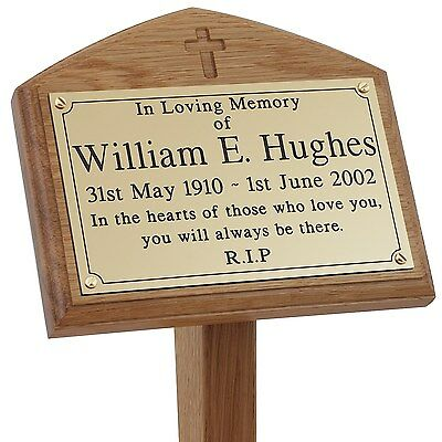 Solid Oak Carved Cross Wooden Memorial Grave / Tree Marker Stake Engraved Plaque