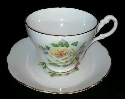 REGENCY BONE CHINA TEA CUP AND SAUCER SILVER QUEEN - ENGLAND - Yellow Rose