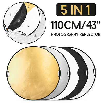 """43"""" 5-in-1 Photo Reflector Photography Light Mulit Collapsible Disc Handheld"""