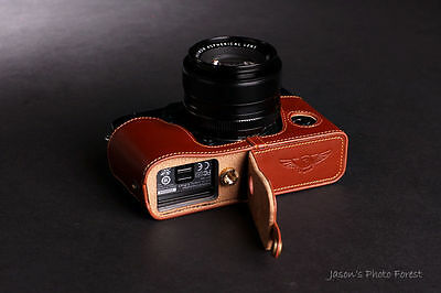 Genuine Real Leather Half Camera Case Bag Cover for FUJIFILM X-Pro1 Bottom Open