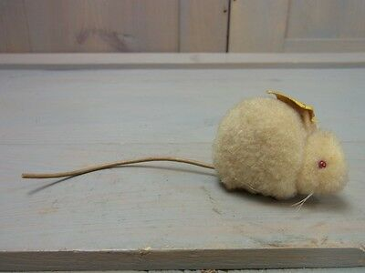 Æ STF32 * Steiff * Gorgeous Albino Mouse 2504/1 Wool * Vintage German Toy 1960's