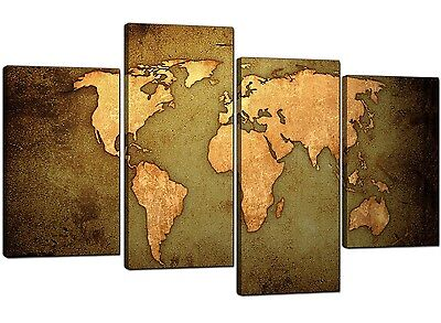 Map of the World Canvas in Green - 4 Panel Antique Style Atlas