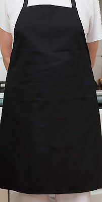 6 x Black Unisex Bib Aprons 86Wx80L - Chef/Cafe/Waiter/Bistro/Cook-QLD Made