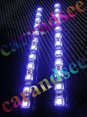 2 Bandes Auto Moto A 12 Led Smd5050 20Cm 12 Volts Blanc Tuning Exterieur