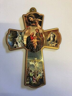 Wooden Wall Religious Cross Icon- Whole family