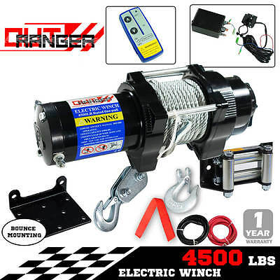 Wireless 4500LBS 12V 2040kg Boat Electric WINCH Steel Cable REMOTE ATV 4WD 4X4